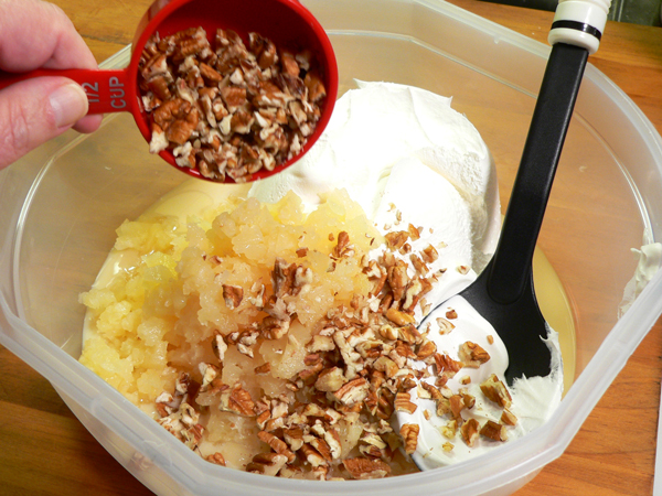 Pineapple Pie, add the chopped pecans.