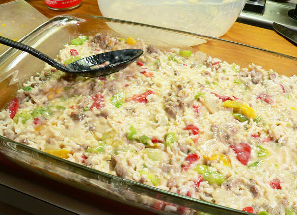 Sausage and Rice Casserole, spread the mixture into your baking dish.