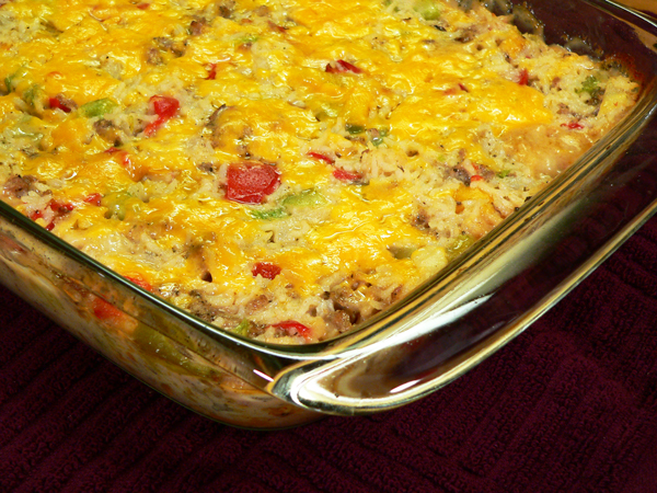 Sausage and Rice Casserole, as seen on Taste of Southern.