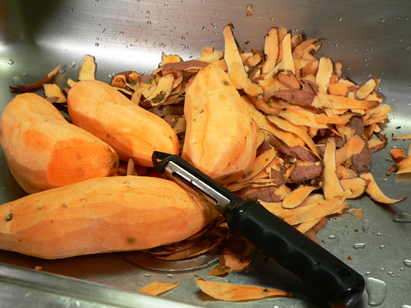 Sweet Potato Casserole, peel the potatoes.