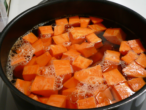 Sweet Potato Casserole, cover with water.
