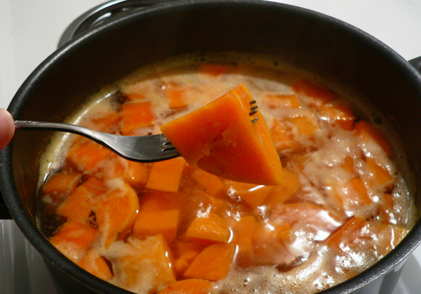 Sweet Potato Casserole, boil until fork tender.