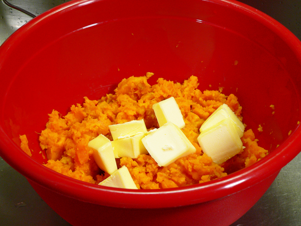 Sweet Potato Casserole, add the butter.