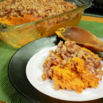 Southern Sweet Potato Casserole with pecans recipe, as seen on Taste of Southern.