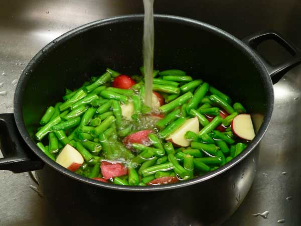 Green Beans and Potatoes, add some water.