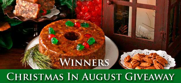 Christmas In August Giveaway on Taste of Southern, winners list.