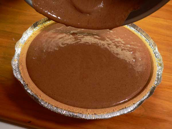 Ice Cream Pie, pour mixture into the pie shell.