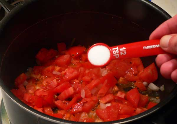 Macaroni and Tomatoes, add the salt.