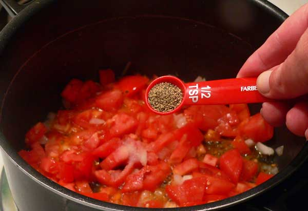 Macaroni and Tomatoes, add the black pepper.