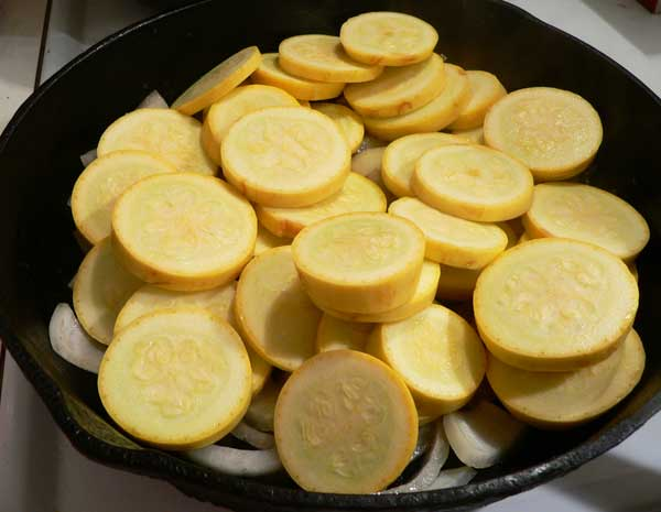Squash and Onions, add the squash to the skillet.