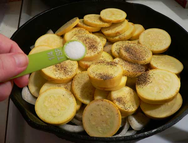 Squash and Onions, add the salt.
