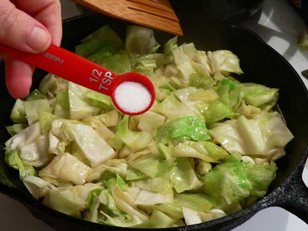 Fried Cabbage, add the salt.