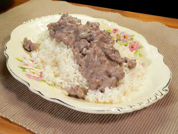 Ground Beef with Mushroom Gravy, enjoy.