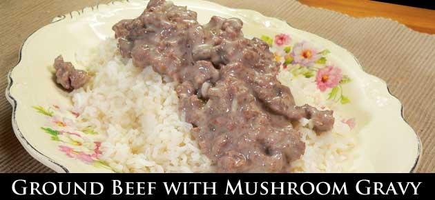 Ground Beef with Mushroom Gravy, slider.