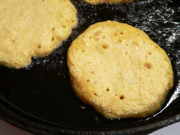 Hot Water Cornbread, look for bubbles.
