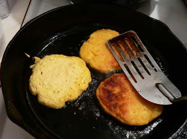 Hot Water Cornbread, flip them over.