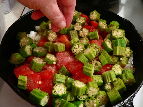 Okra and Tomatoes, add a little sugar.