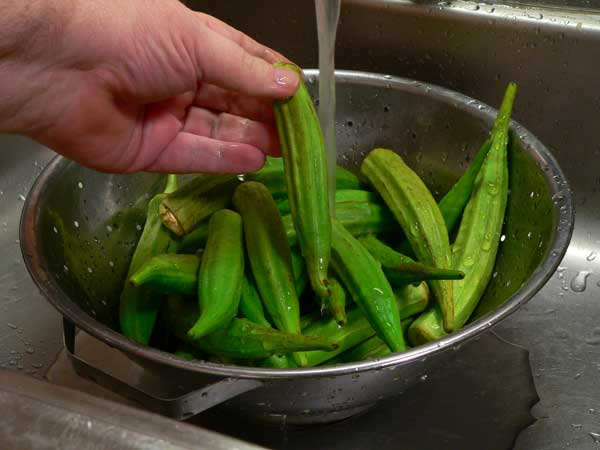 Pan Fried Okra, wash the okra.