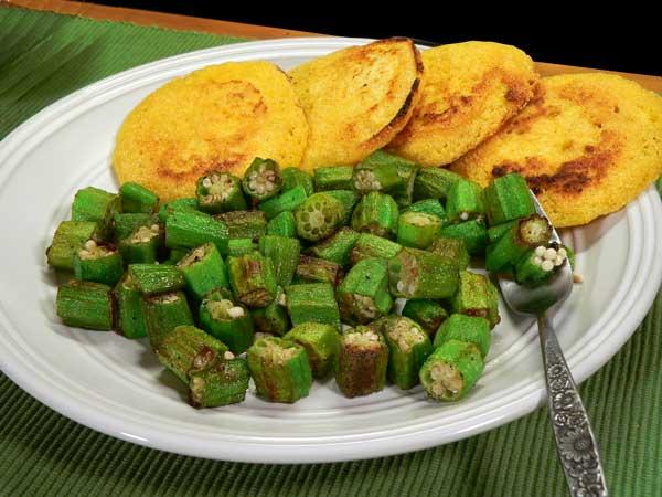 Pan Fried Okra, serve warm and enjoy.