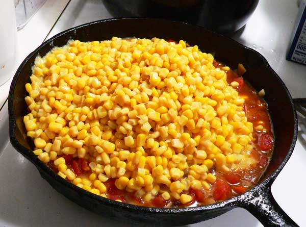 Corn Maque Choux, add the drained corn.