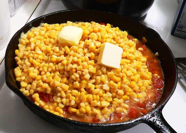 Corn Maque Choux, add the butter.