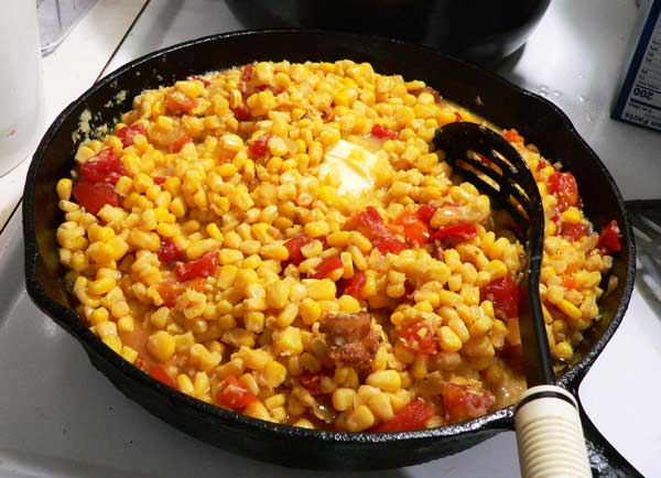 Corn Maque Choux, stir and cook until thickened.