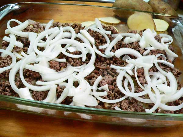 Hamburger Casserole, add a layer of onions.