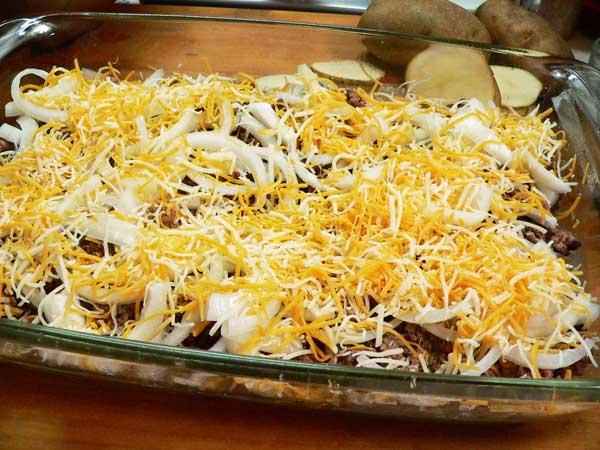 Hamburger Casserole, add a layer of cheese.
