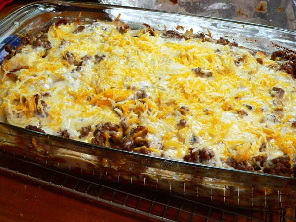 Hamburger Casserole, add remaining cheese.
