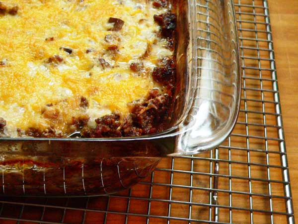 Hamburger Casserole, place on wire rack to cool.