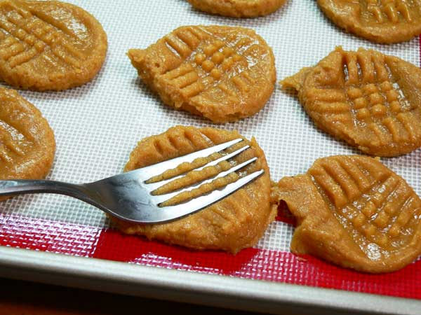 Peanut Butter Cookies, press with a fork.