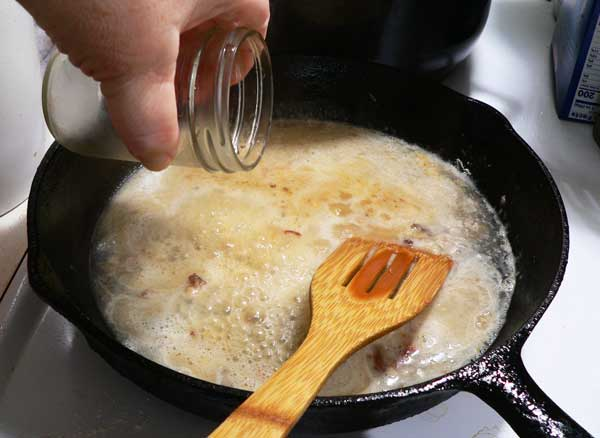 Pork Chops with Gravy, add some warm water.