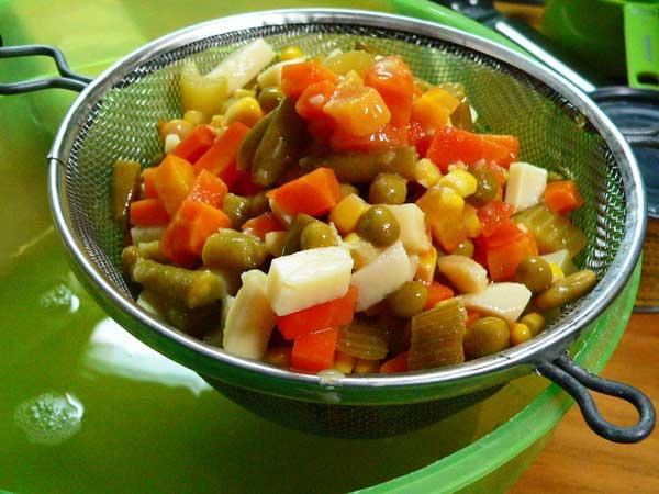 Veg-All Casserole, drain the vegetables.