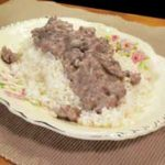 Ground Beef with Mushroom Gravy, printable recipe, as seen on Taste of Southern.