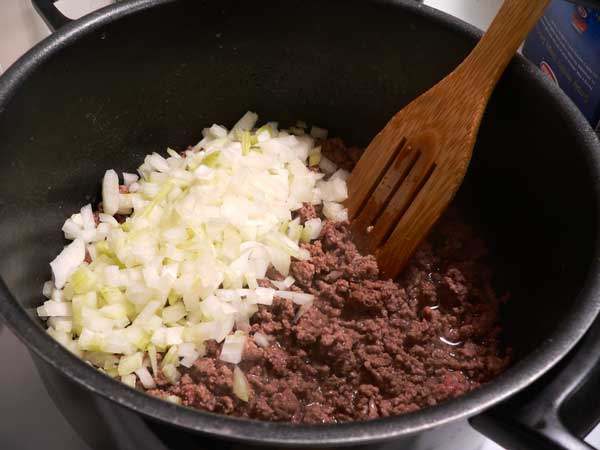 Macaroni and Beef, add the onions.