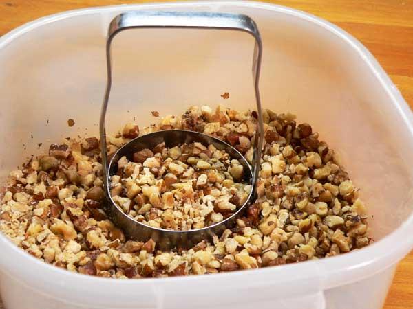 Black Walnut Cake, chop the black walnuts.