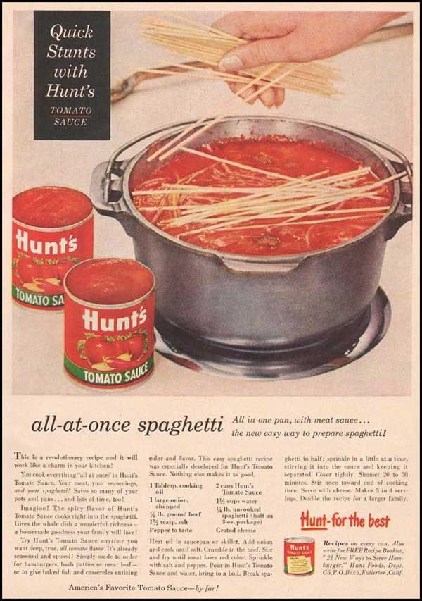 All at Once Spaghetti, vintage magazine ad.