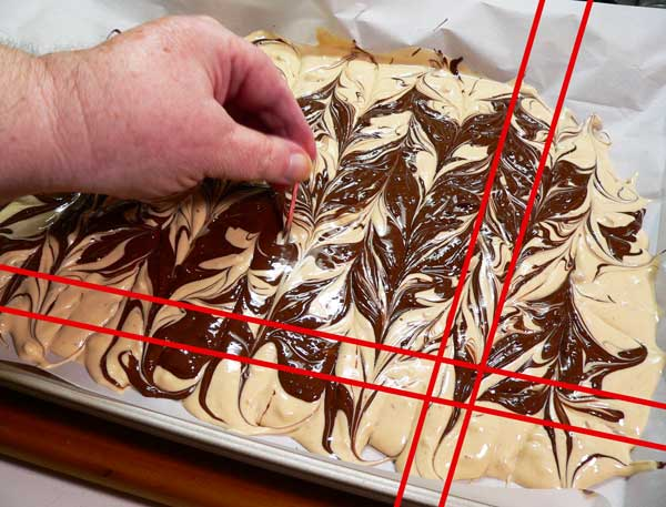Tiger Butter Bark, pull toothpick through the chocolate.