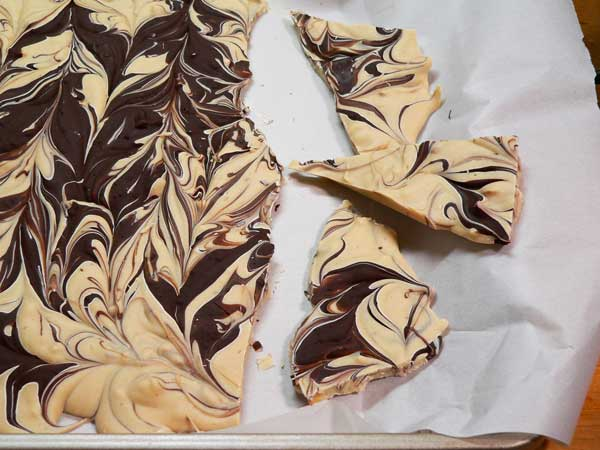Tiger Butter Bark, break it into pieces.