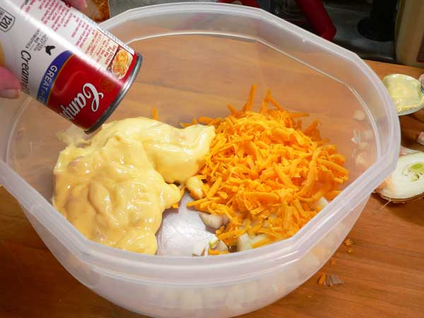 Corned Beef Casserole, place cheese, onion, and soup in a large mixing bowl.