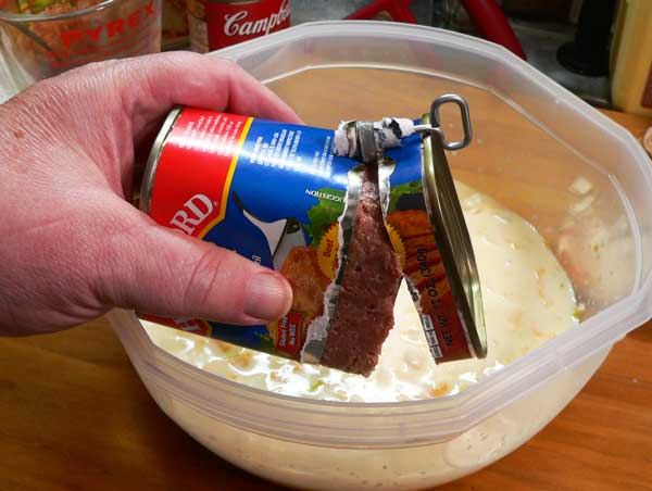 Corned Beef Casserole, use the key to open your corned beef can.