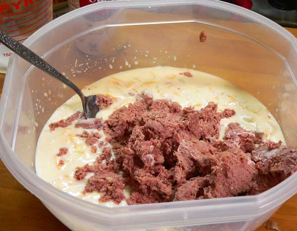 Corned Beef Casserole, add the corned beef to the soup mixture.
