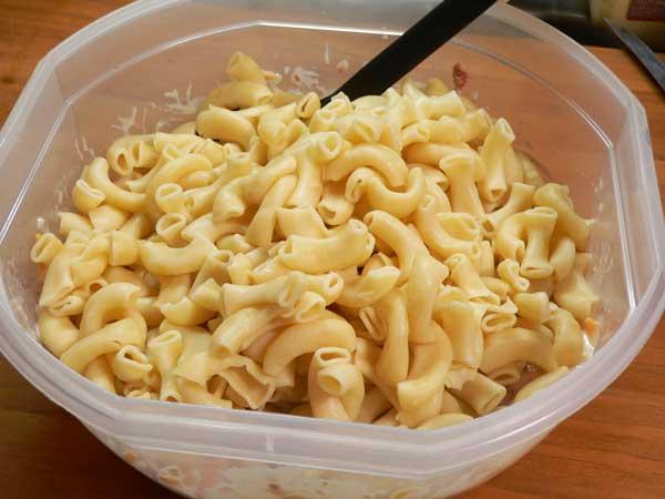 Corned Beef Casserole, add the macaroni.
