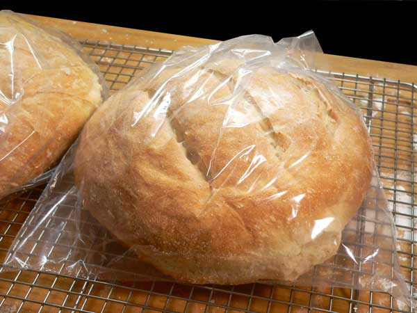 Sourdough Bread, store in plastic bags.