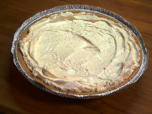 No Bake Pie, spread mixture in crust.