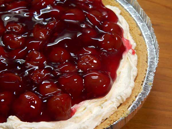 No Bake Pie, add the cherry filling.