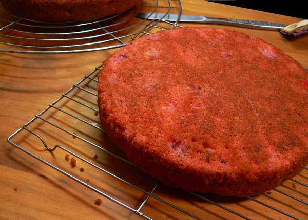 Strawberry Nut Cake, remove the layers from the pans.