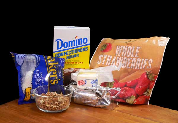 Strawberry Nut Cake, ingredients for the frosting.