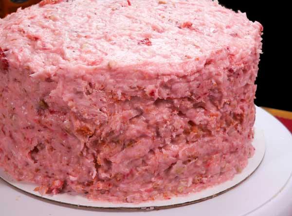 Strawberry Nut Cake, icing on the cake.