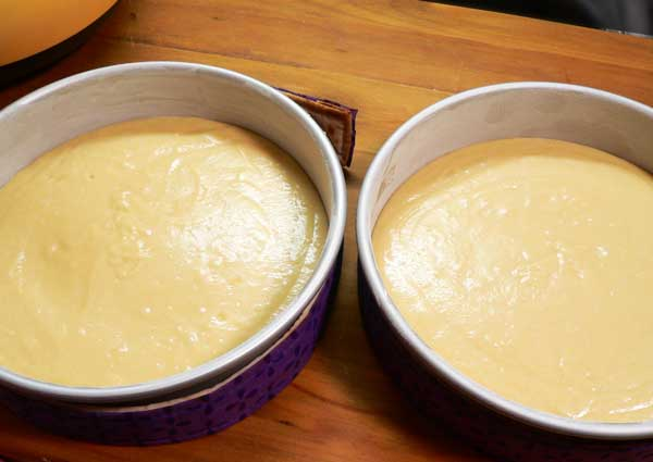 Golden Butter Cake, divide the batter between the pans.